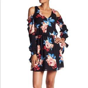 Charles Henry Floral Ruffle Cold Shoulder Dress